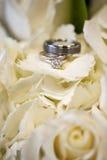 Hochzeitsringe in den weißen Blumen Stockfotografie