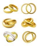 Hochzeitsringe des Gold 3D trennten Stockfotos