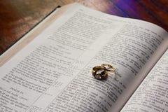 Hochzeitsringe, die auf Bibel liegen Lizenzfreie Stockfotografie