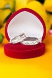 Hochzeitsringe gebildet vom weißen Gold Stockbilder