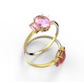 Hochzeitsringe mit Diamanten arbeiten Sie Schmucksachen um Stockfoto