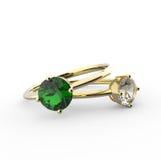 Hochzeitsringe mit Diamanten arbeiten Sie Schmucksachen um Stockfotografie