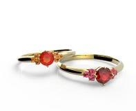 Hochzeitsringe mit Diamanten arbeiten Sie Schmucksachen um Lizenzfreies Stockfoto