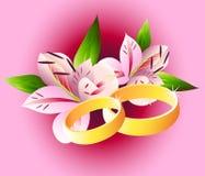 Hochzeitsringe mit Lilien vektor abbildung