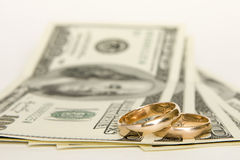 Hochzeitsringe und -geld Stockfotografie