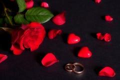 Hochzeitsringe und rosafarbene Blumenblätter Stockfotos