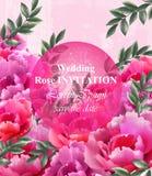 Hochzeitsrosen Einladungs-Vektor Schöner Rosenblumendekor Elegante Dekorweinlesehintergründe Stockfotos