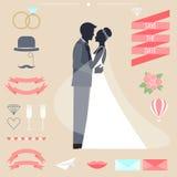 Hochzeitssammlung mit Braut, Bräutigamschattenbild und romantischen dekorativen Elementen stock abbildung