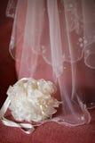 Hochzeitsschleier und -handtasche Lizenzfreie Stockfotos