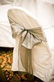 Hochzeitsstuhlabdeckungen Stockfoto