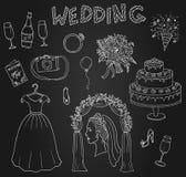 Hochzeitssymbolsatzhand gezeichnet mit Tintenskizze Lizenzfreie Stockbilder