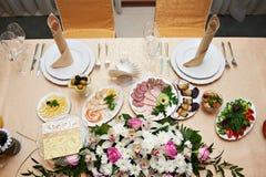 Hochzeitstabelle für Jungvermählten Stockfotografie