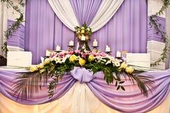 Hochzeitstabelle für Jungvermählten Lizenzfreie Stockfotos