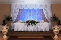 Hochzeitstabelleneinstellung Stockfoto