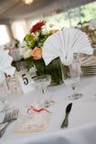 Hochzeitstabelleneinstellung für Abendessen Lizenzfreies Stockbild