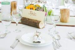 Hochzeitstafel eingestellt mit namecard Lizenzfreies Stockbild