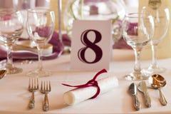 Hochzeitstafel mit Nr. acht Lizenzfreie Stockbilder
