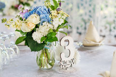 Hochzeitstafeldekor Lizenzfreies Stockfoto