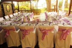 Hochzeitstafeldekorationsfeiern Stockfoto