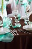 Hochzeitstafelsatz mit Dekoration für das Geldstrafenspeisen oder ein anderes versorgtes Ereignis Lizenzfreie Stockbilder