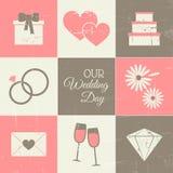 Hochzeitstag-Satz Stockfotografie