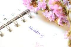 Hochzeitstagesordnung Stockfotos