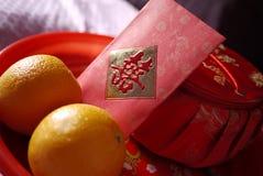 Hochzeitsteezeremonietischbesteck und -umhüllung des traditionellen Chinesen Lizenzfreie Stockfotografie