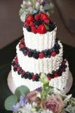 Hochzeitstorte mit Beeren Lizenzfreies Stockbild