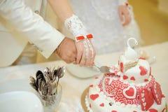 Hochzeitstorte mit Schwan Stockbild