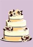 Hochzeitstorte, verziert mit Blumen der weißen Schokolade und der Milch stock abbildung