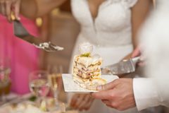 Hochzeitstorte wird in Stücke für Gäste 7421 unterteilt Lizenzfreie Stockfotos