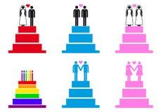 Hochzeitstorten mit Paaren, Vektorsatz Stockfotos