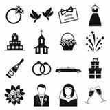 Hochzeitsvektorikonen eingestellt Stockbilder