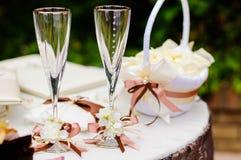Hochzeitsweingläser Stockbild