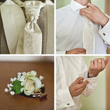 Hochzeitszubehör eingestellt für Bräutigam Stockfotos