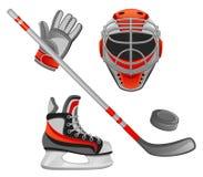 Hockey. Equipment on a white background Stock Photos