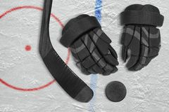 Hockey accessories on the ice arena Royalty Free Stock Photography