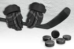 Hockey Accessories on Ice Royalty Free Stock Photos