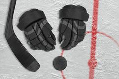 Hockey Accessories on Ice Royalty Free Stock Photos