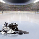 Hockey Arena With Equipment on Ice and Copy Space Stock Images