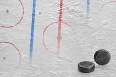Hockey arena with markings and two washers Stock Image