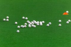 Hockey Astro Turf White Balls Stock Photos