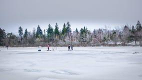 Hockey auf dem gefrorenen See Lizenzfreies Stockbild
