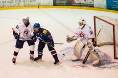 Hockey avec le galet Photo libre de droits