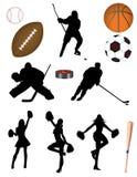 ¡Hockey! ¡Béisbol! ¡Baloncesto! ¡Balompié! ¡Fútbol! Fotos de archivo libres de regalías