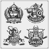Hockey badges, labels and design elements. Sport club emblems with ancient warriors. Print design for t-shirt vector illustration