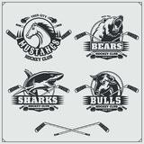 Hockey badges, labels and design elements. Sport club emblems with bear, shark, bull and horse. vector illustration