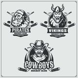 Hockey badges, labels and design elements. Sport club emblems with pirate,cowboy and viking. stock illustration