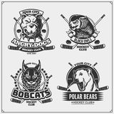 Hockey badges, labels and design elements. Sport club emblems with pitbull, owl, bobcat and polar bear. Print design for t-shirts. Vector royalty free illustration