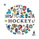 Hockey banner, sketch for your design Stock Image
